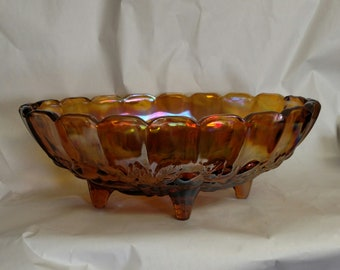 Beautiful Vintage Amber/Marigold Carnival Glass 4 Footed/Toed Centerpiece. Harvest Grape pattern