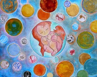 Healing The world.Chakra art.Chakra.Baby image.Baby art.Big painting.My place in the world.Healing art.Chakras.Rainbow.Rainbow art.Worldwide