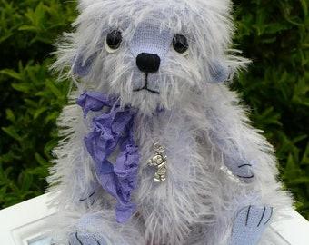 Artist made bear, bluebell a mohair bear