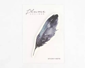 Black Feather Sticky Notes, Memo Pad, Post it