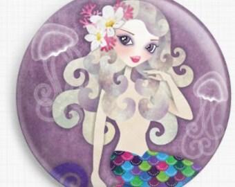 Mermaid Needle Minder, Licensed Art, Sandra Vargas, Cross Stitch Keeper, Amethyste , Fridge Magnet, Needle Nanny, Pin Keeper, Pattern Holder