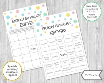 Baby shower bingo cards in Spanish. Printable. Baby shower games. Baby bingo. Instant download. Baby shower games. Juegos para baby shower.