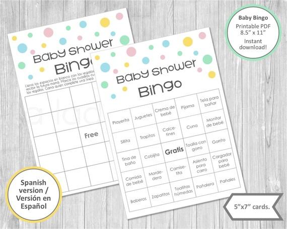 Baby Shower Bingo Cards In Spanish Printable Baby Shower