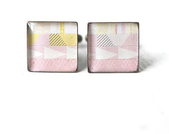 Men's Cuff Links in Pastel Pink - Striped Square Cufflinks for Men Groom Groomsmen Spring Wedding Pink and Yellow