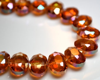 Deep Orange Faceted Oval Crystal Beads   6