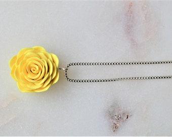 Handmade rose flower - Flower girl gift -  Summer jewelry - Polymer clay jewelry - Silver jewelry - Polymer clay necklace - Flowers