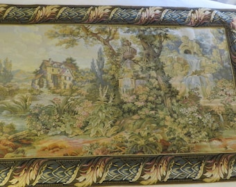 """Wall Tapestry of Cottage Cherubs & Country Side Mill  // Colors are Muted Greens Tans Pinks and Browns Blues //  37"""" Tall - 60"""" Wide"""