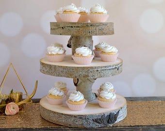 Multi-Tiered Cupcake Stand ~ Aspen Slice Cupcake Stand ~ Rustic Cupcake Stand ~ Summer Wedding ~ Birch Cupcake Stand ~ Garden Wedding