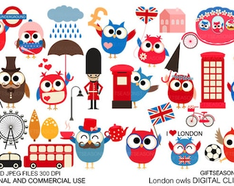 London owls Digital clip art for Personal and Commercial use - INSTANT DOWNLOAD