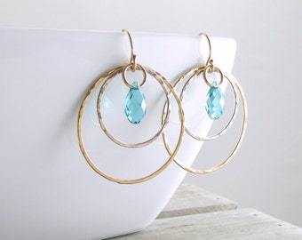 Gold Crystal Hoop Earrings Dangle Earrings Hoop Earrings Crystal Dangle Earrings Gold Crystal Earrings Gift For Women Mothers Day