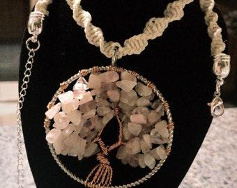 Tree Of Life Rose Quartz Hemp Necklace