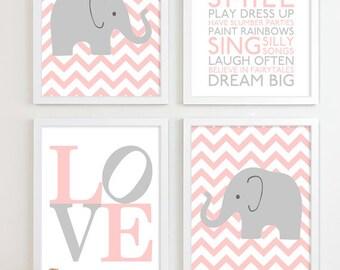 Baby Elephant Nursery Art, Safari Nursery Decor Baby Girl Gift for Girl Baby Shower Gift for Baby Girl Shower Gift Girl Baby Gifts