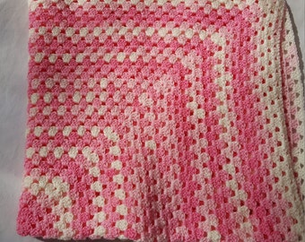 Baby Blanket Pink and White Gradient