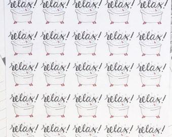 Relax Bubble Bath Planner Stickers, hand drawn perfect for Erin Condren, Filofax, Kikki K, Happy Planner, Inkwell Press