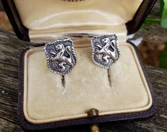 Vintage Sterling Silver Scottish Heraldic Rampant Lion Screw Back / On Earrings