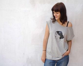Virginia Woolf  T-shirt   Melange grey White Boyfriend T-shirt womanT shirt Literary Tshirt