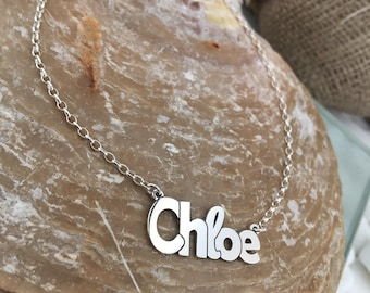 Chloe necklace, Custom word necklace, Name Jewelry, Children Names Necklace, Personalized Name Necklace, name necklace, sterling silver 925