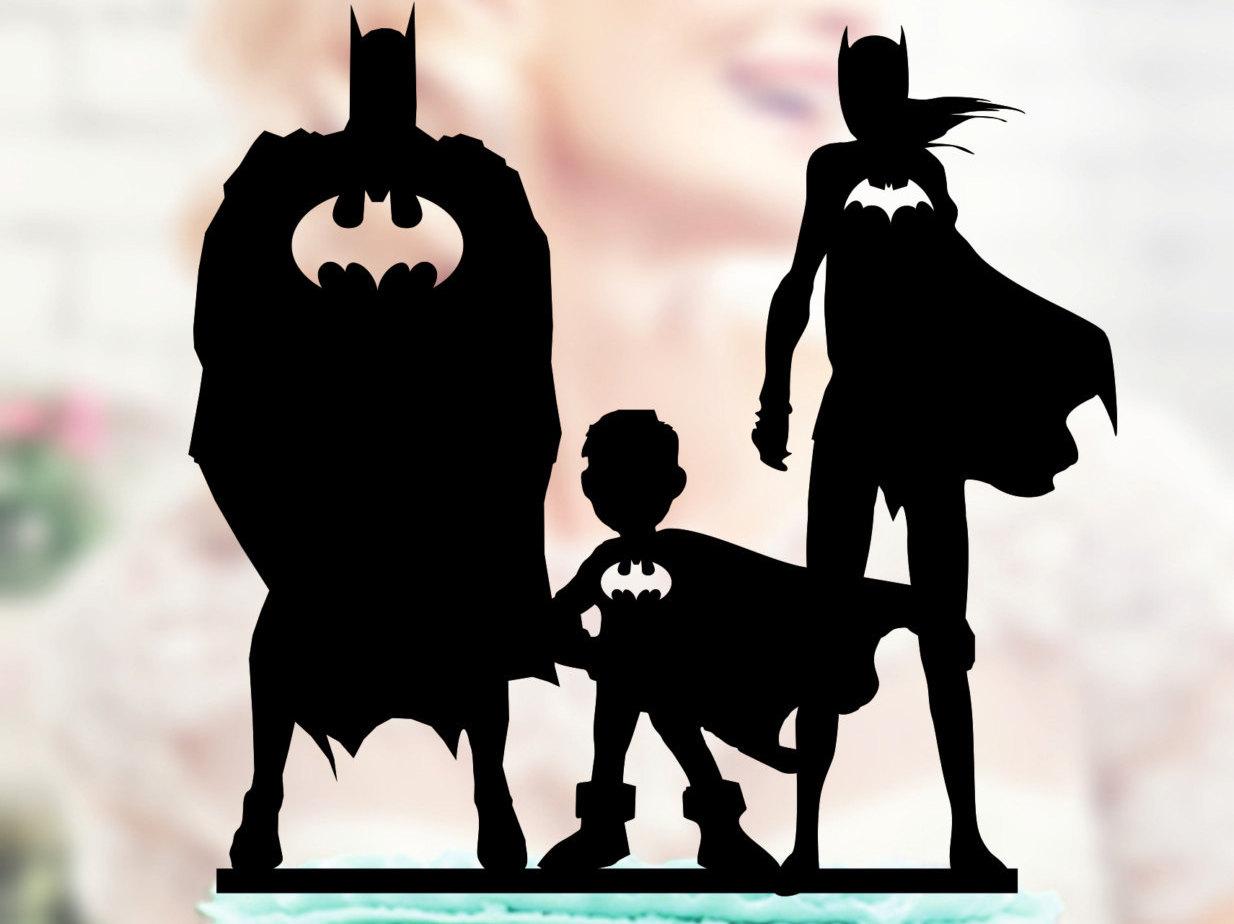 Batman And Batgirl With Kids Super Hero Family Topper