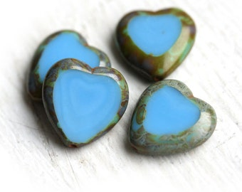 Heart Beads Turquoise blue, picasso finish, czech glass beads - 15mm - 4Pc - 0164