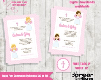 Twins First Communion Invitations - Two Girls 1st Communion Invites - First Holy Communion Invitation - First Communion Tags - FREE TAGS