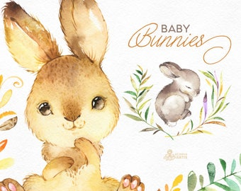 Baby Bunnies. Watercolor little animals and floral clipart, wreath, rabbit, frames, forest, cute, nice, country, nursery art, nature, png