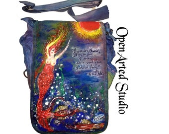 Hand-Painted Bag: Mermaid/Anais Nin quote