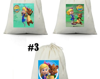 12 Goldie and Bear Birthday Party Favor Candy Loot Treat Drawstring Bags