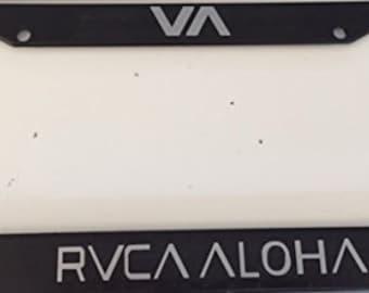 RVCA Aloha Version  -Limited Edition Automotive Black with Grey License Plate Frame -