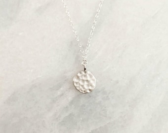 Sterling Silver Hammered Disc Dainty Necklace