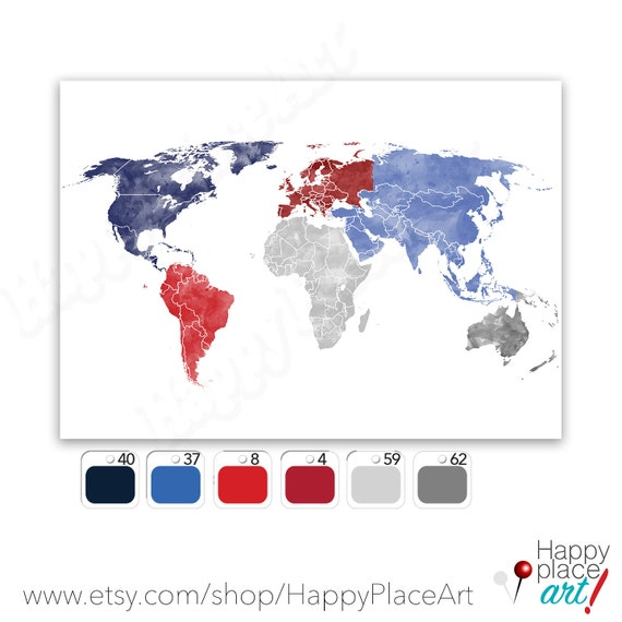 Custom colour world map downloadable watercolor map red custom colour world map downloadable watercolor map red white and blue world map digital world map printable travel map large map print gumiabroncs Choice Image