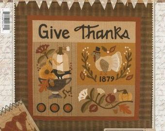 Primitive Folk Art Wool Applique Pattern: GIVE THANKS - Design by Stacy West of Buttermilk Basin