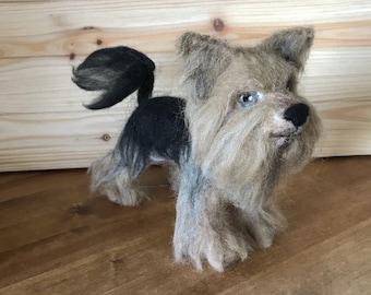 Yorkie Ornament Needle Felted Yorkshire terrier Sculpture Dog Miniature Dog Yorkie Custom Dog Art Collectibles Fiber Arts Gift