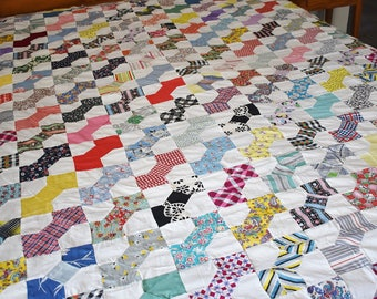 Bowtie Patchwork Quilt Top, Multi Color Hand Stitched Quilt, Handmade Quilt Top, Hand Pieced Scrappy Quilt, Queen Double Full Twin