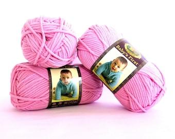 Baby's First Lion Brand Yarn Pink Fairy Tale 3 Skeins Craft Supplies