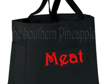 FUN TOTE Eco Friendly Embroidered Reusable Grocery Bag MEAT