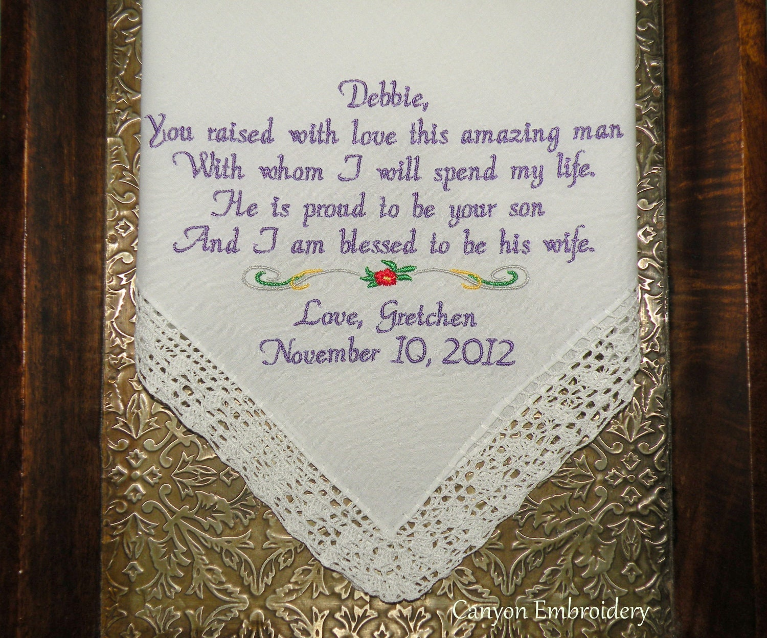 Mother In Law Wedding Gift Embroidered Personalized Wedding