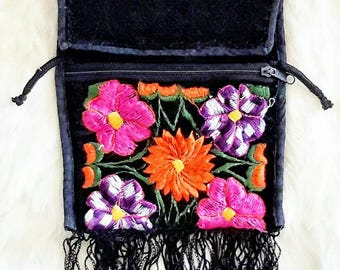 Vintage Flower Embroidered Fringe Crossbody Pouch / Purse / Festive Purse