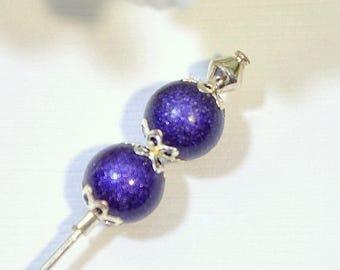 Small Hat Pin Purple Lapel Pin 3 inch Hijab Pin Sarong Pin Scarf Pin Beaded Stick Pin Handmade