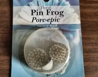 """Panacea Floral Pin Frog, Set of 2 - 1 1/8"""" Metal Round"""