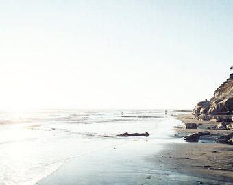Neutral Beach Decor, San Diego Beach Print, Ocean Seascape, Seashore, Light Blue, Soft Beach Scene, Swamis Beach, California Beach Landscape
