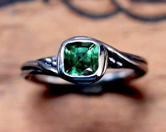 Emerald engagement ring, engagement ring silver, ethical engagement ring, lab created emerald ring, Pirouette, custom made to order