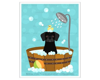 420D Bath Art Prints -  Black Puggle in Bubble Bath Bathtub Wall Art - Puggle Drawing - Cute Puppy Print - Bathroom Decor - Puggle Print