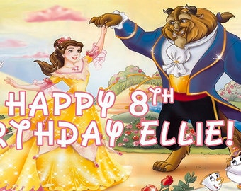 Beauty and the Beast Personalized Birthday Banner/Backdrop