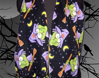 Halloween Fleece Scarf, Holiday Muffler, Holiday Bufanda, Silly Witch