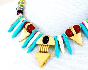 Turquoise necklace, Stone necklace, Statement necklace, Bib necklace - Nilia