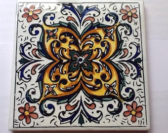 Colorful Vintage Tile made in Spain Hang on Wall or Use as Hot Pad Trivet
