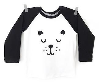 Bear tee, Toddler baseball tee hand-screen printed tee, bear t shirt, kids black and white T shirt, moder hipster shirt, baby tee