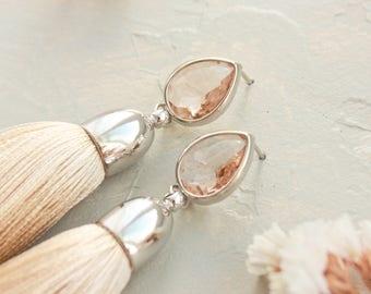 Beige Tassel Rodium Plated Earrings, Nude Silk Earrings, Textile Earrings, Tassel Jewelry,  Fringe Earrings, Boho