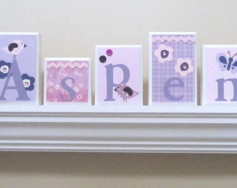 Name Blocks . ROUTED EDGE . Nursery Name Blocks . Nursery Decor . Baby Name Blocks . Wood Name Blocks . Pink Purple White Black