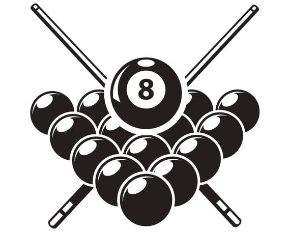 Billiards Pool Logo 2 Sticks Crossed Rack Eight Ball Sports